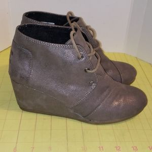 TOMS gray leather booties
